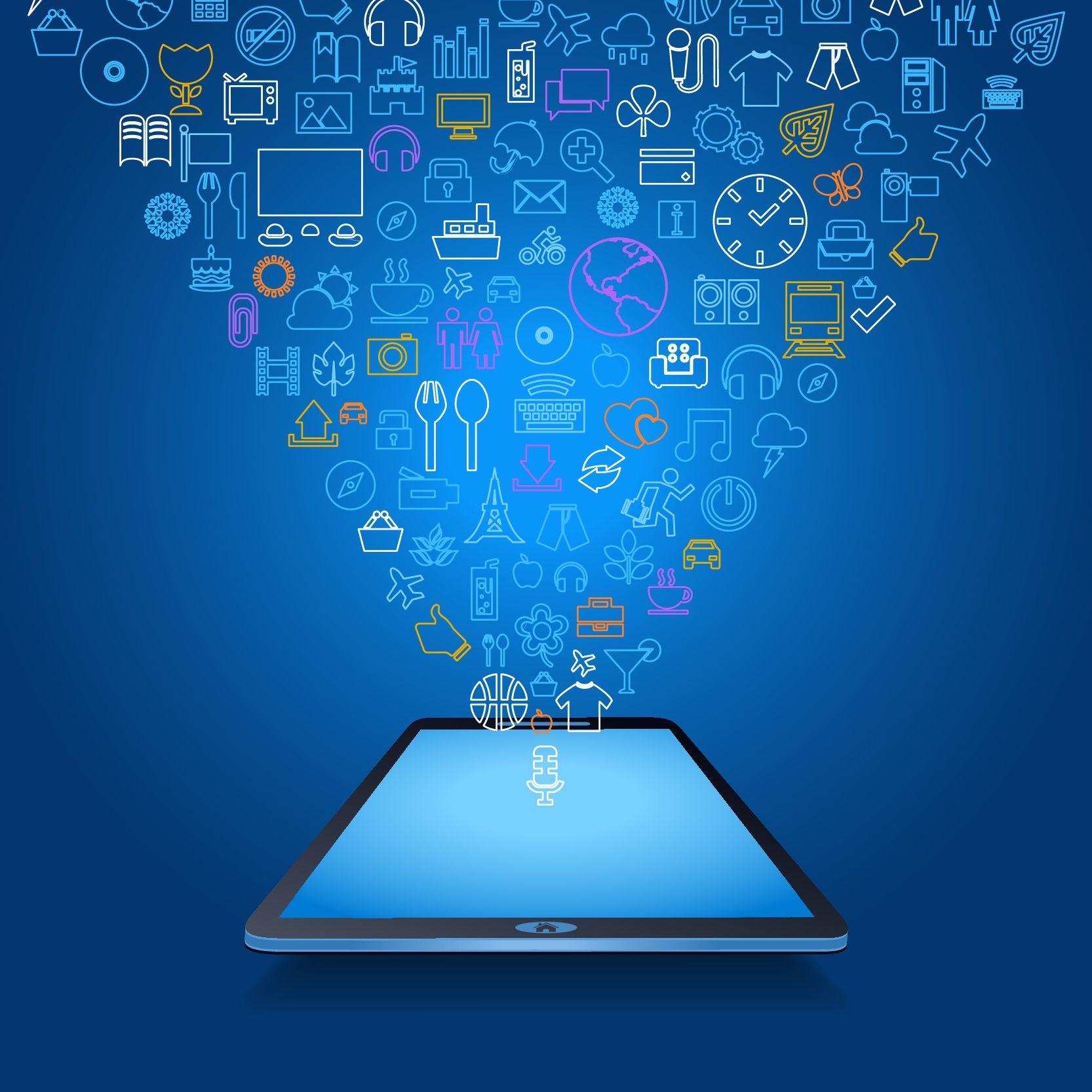 Mobile App In A Tablet. DigitalMarketing Design Web
