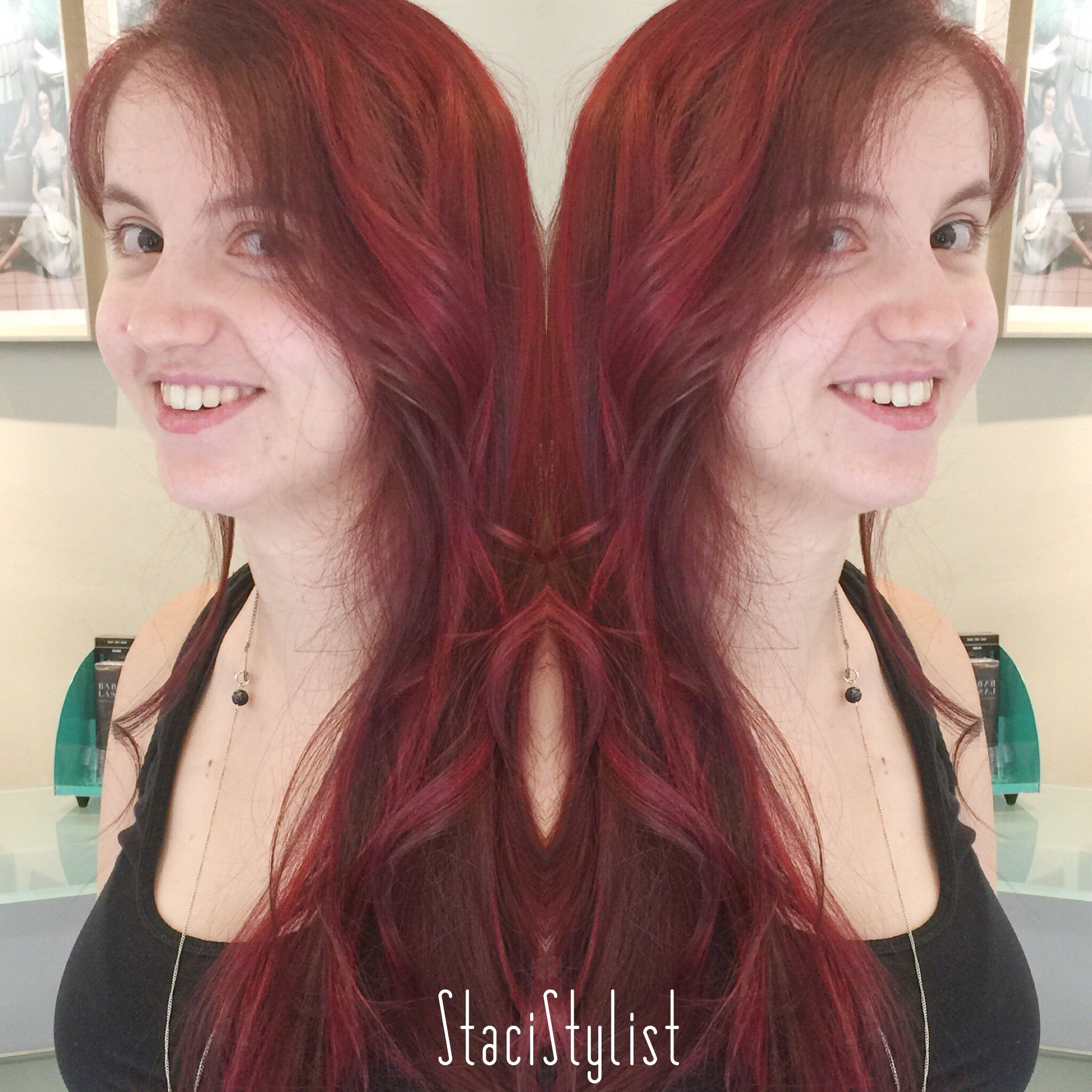 Ruby Red Highlights In Long Asymmetrical Haircut