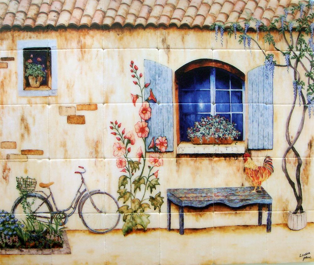 French Country Kitchen Backsplash By Artist Linda Paul In