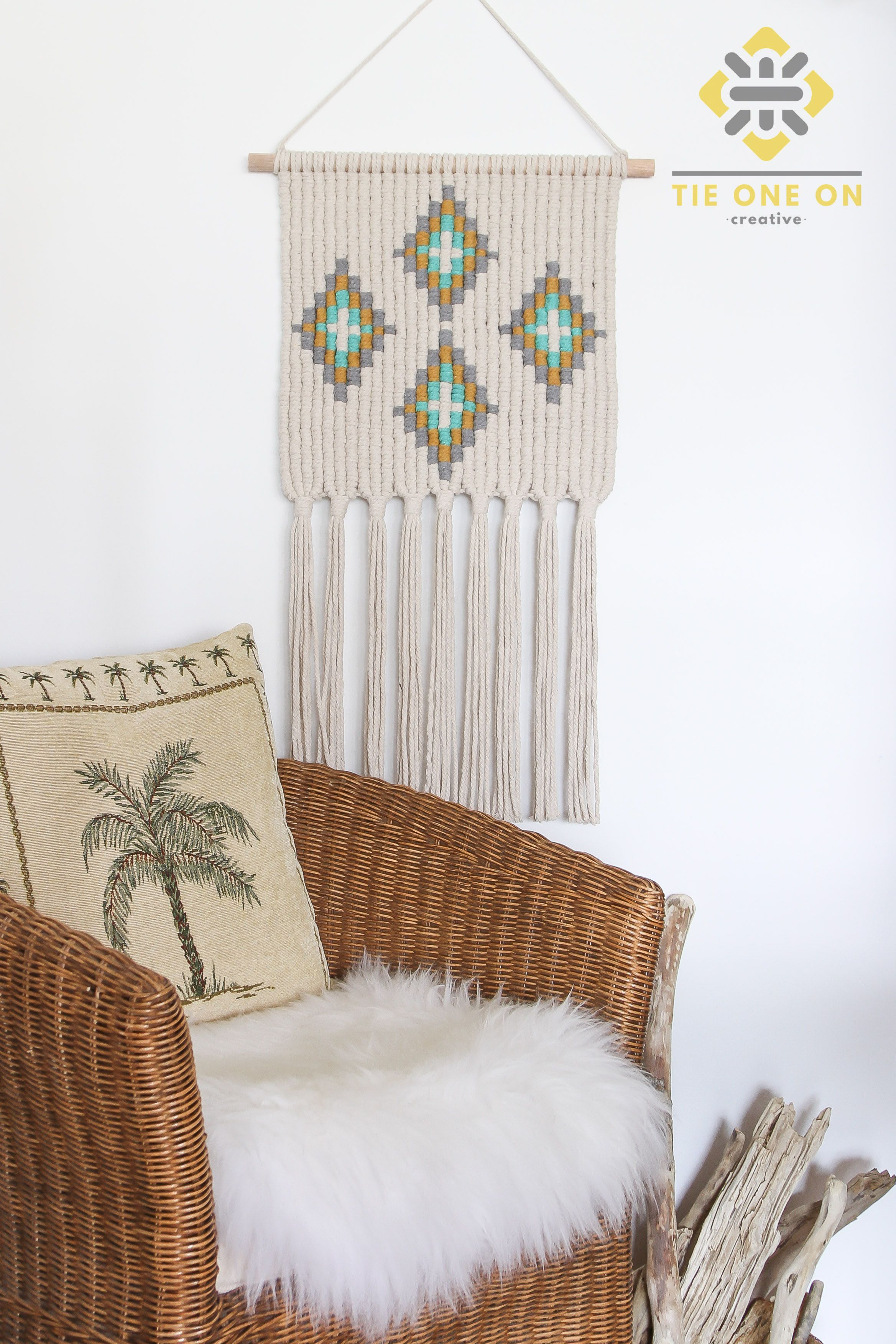 Macrame Wall Hanging Mid Century Modern Design Retro Lucy