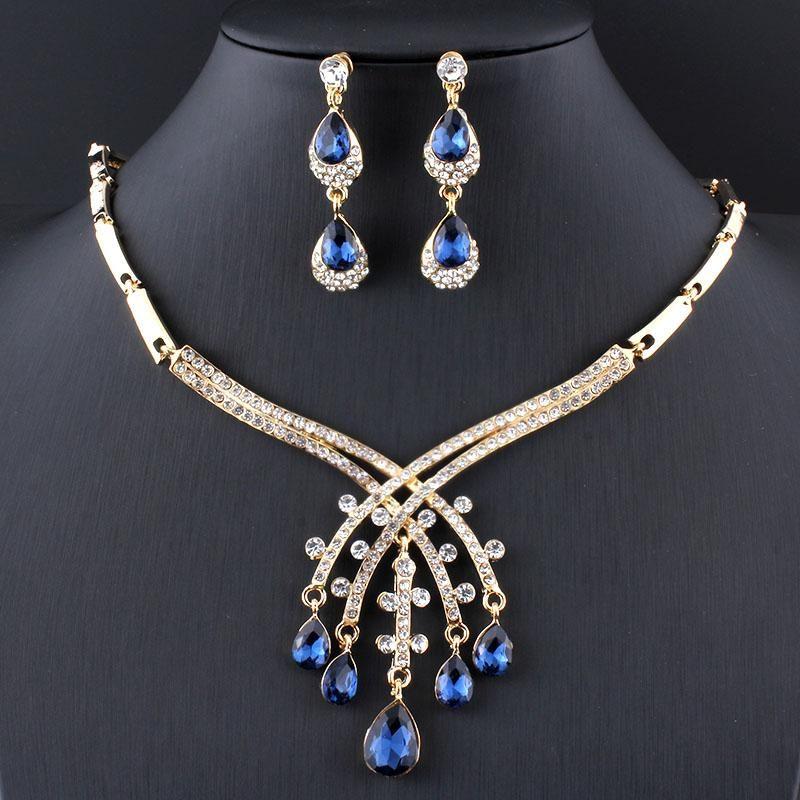 Heart Necklace Earring Sets for Women,Crystal Necklace Earrings Set Women Simulated Ruby Rhinestone Drop Earrings Necklace Wedding Jewelry Set 1#