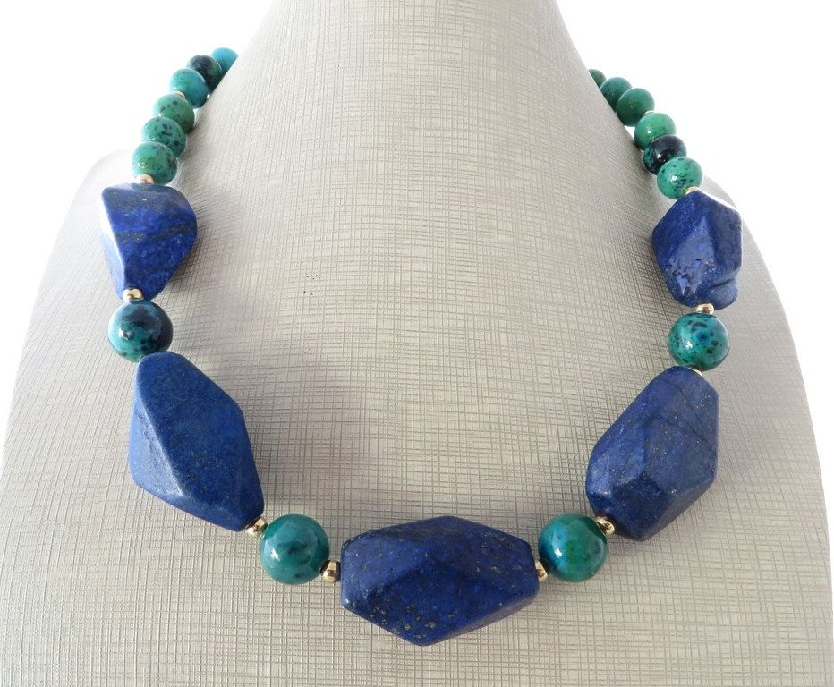 nature inspired Lapis gemstone necklace blue and green
