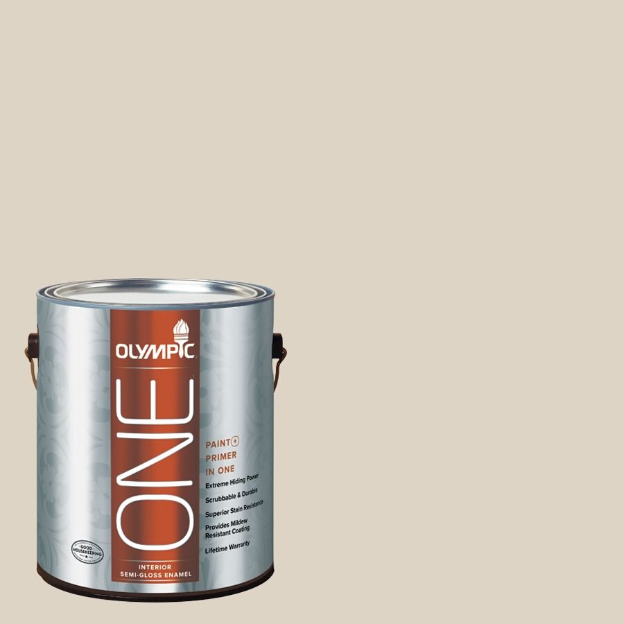 Olympic One Drifting Dune Semi Gloss Latex Interior Paint And Primer In Actual Net Contents 124 Fl Oz