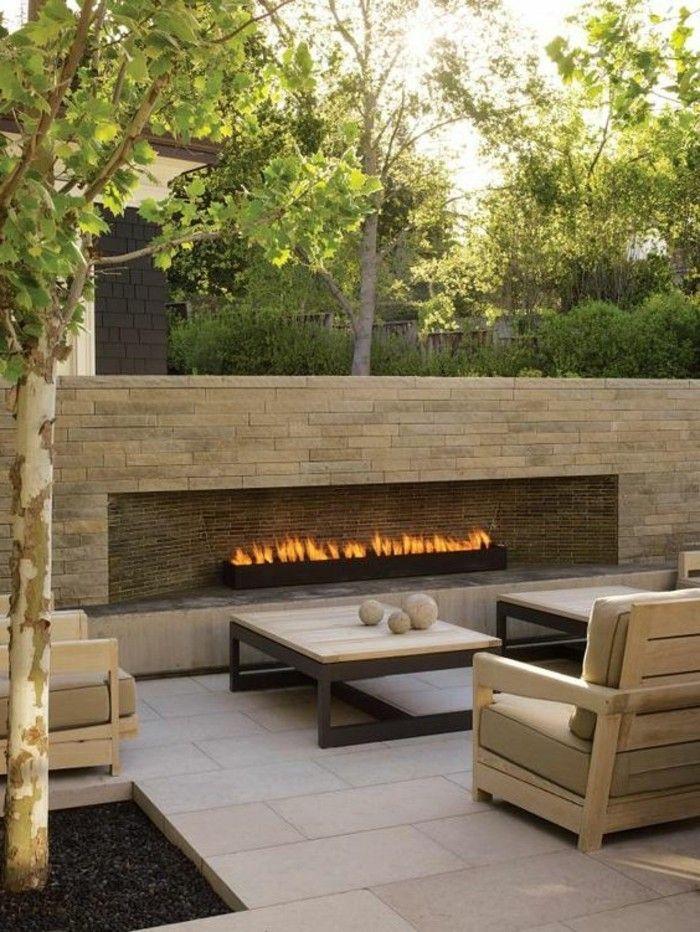 Moderner Gemauerter Kamin Gartengestaltung Mit Loungemöbeln
