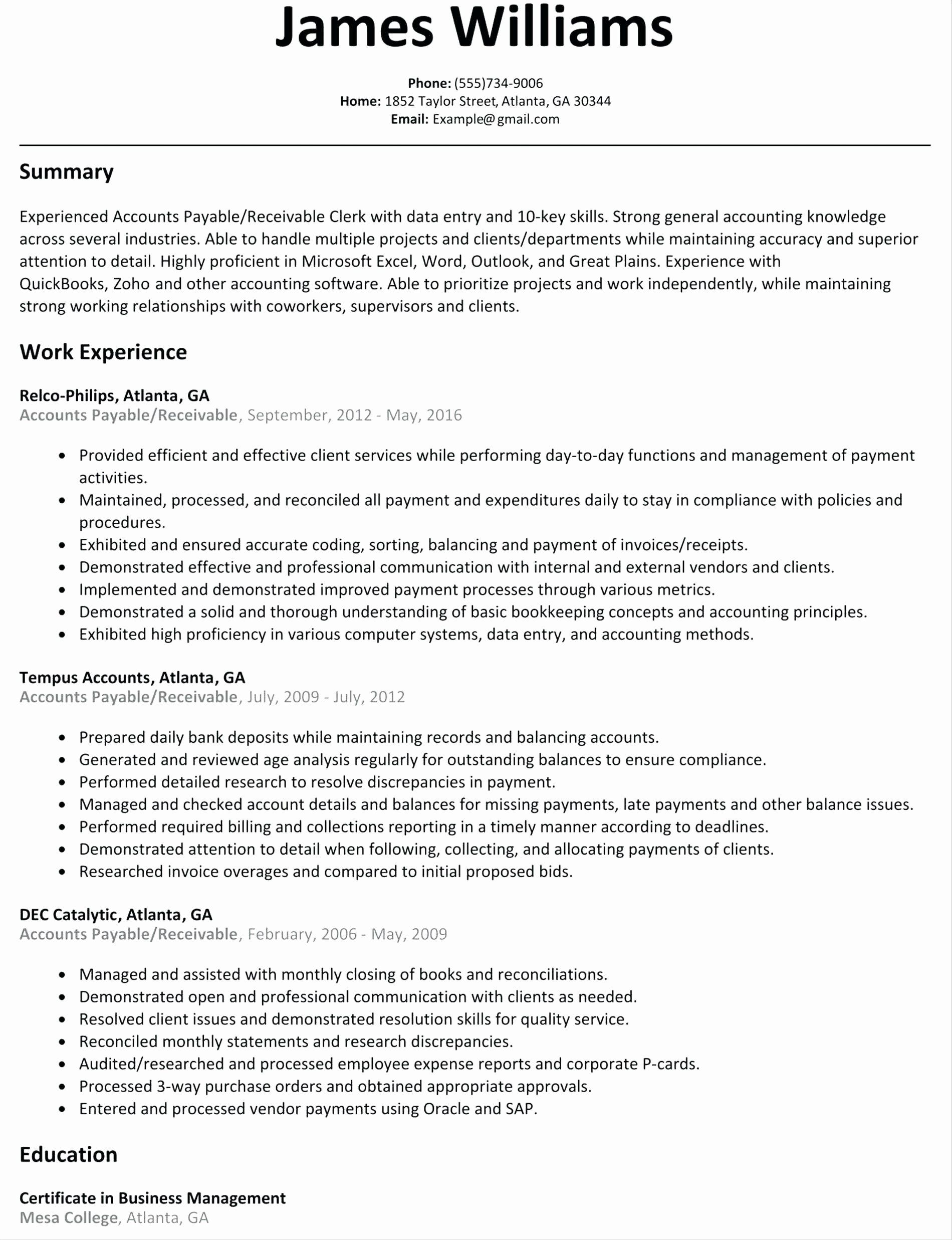 accounts payable and receivable resume elegant luxury business intelligence engineer example of summary qualifications in best template cv word