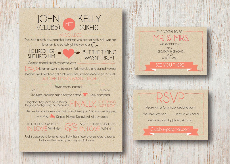 Couples Love Story Wedding Invite Suite | WEDDING // Rustic ...