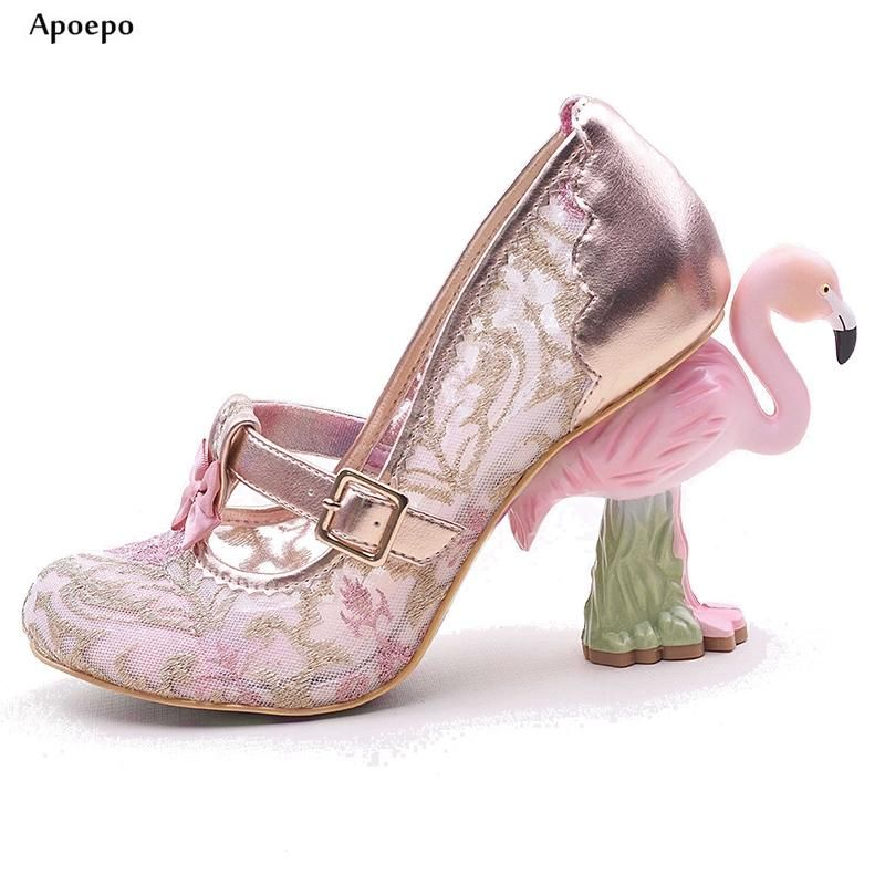 Flamingo Glitter Lace Pumps Embellished t-strap High heel shoes lace with buckles  straps bows a4dbe45d652d