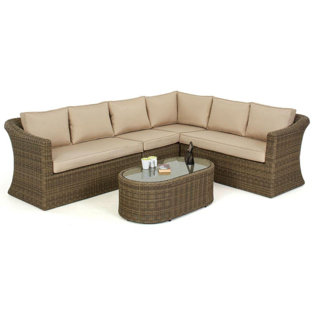 Maze rattan winchester large deluxe corner sofa set gardens Garden corner sofa set