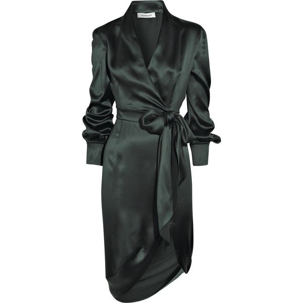 2dd7d3cc8a1 Yves Saint Laurent Silk-satin wrap-style dress featuring polyvore women s  fashion clothing dresses vestidos outerwear coats forest green long sleeve  dress ...