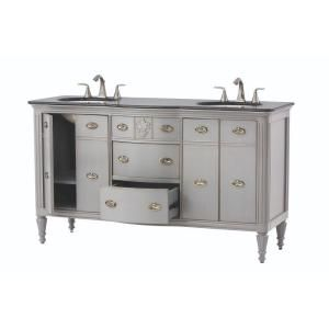 Home Decorators Collection, Wellington 61 in. Double Vanity in Distressed Blue with Granite Vanity Top in Black, 2694500310 at The Home Depot - Mobile