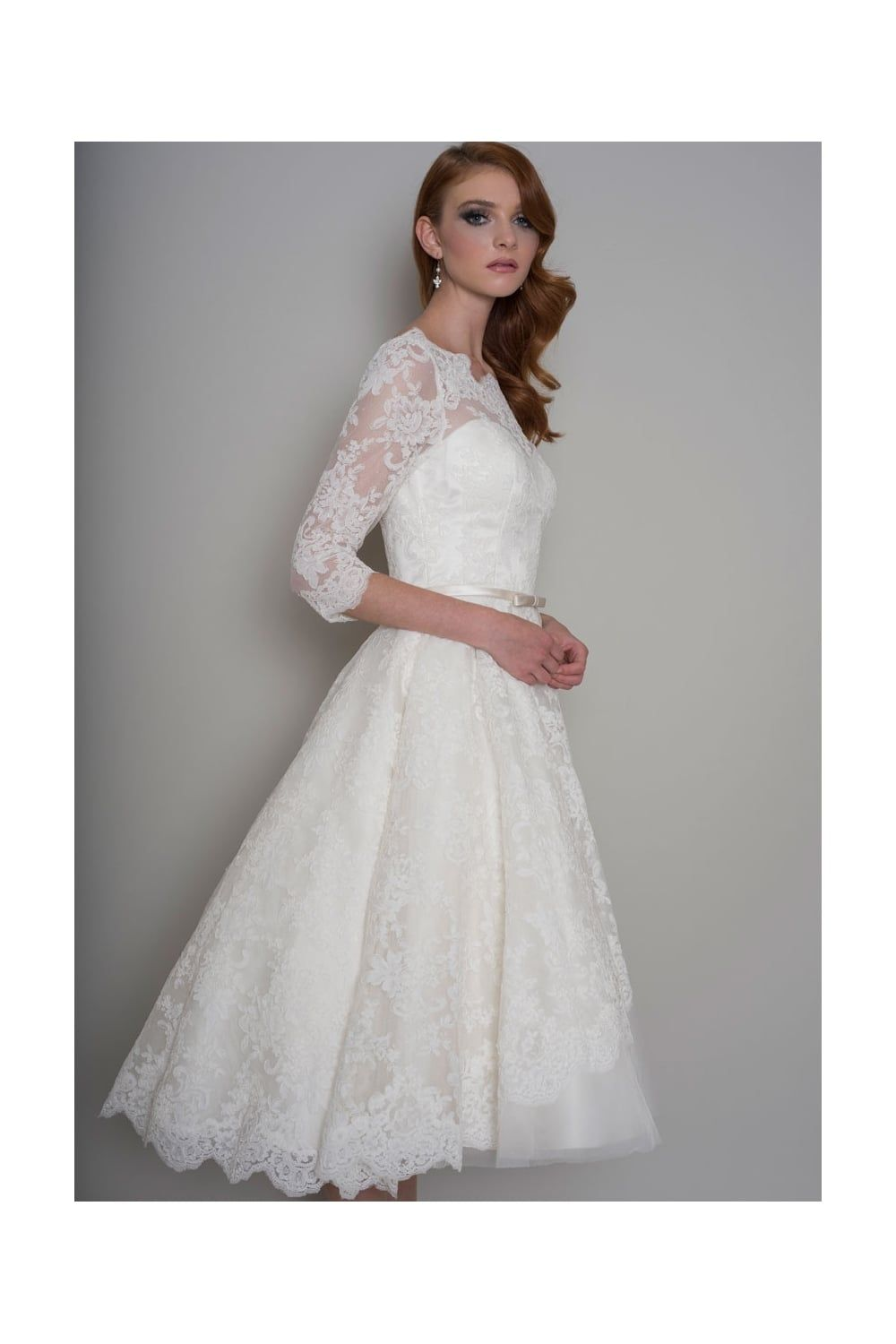 Loulou delilah tea length vintage s wedding dress with sleeves