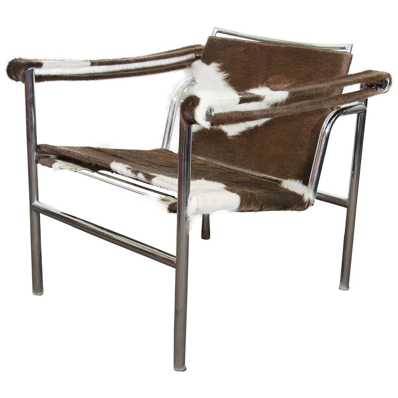 Attirant A Vintage LC1 Sling Chair Newly Reupholstered In Cowhide With Adjustable  Back And A Tubular Chrome