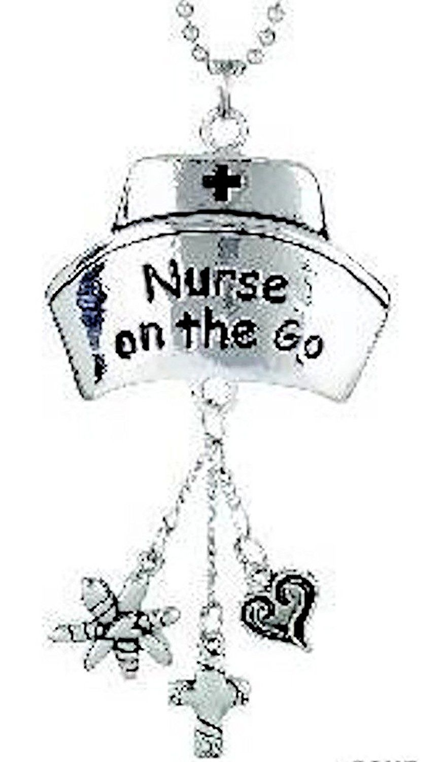 """Amazon.com: Cool & Custom {7"""" Chain Hang} Single Unit of Rear View Mirror Hanging Ornament Decoration Made of Zinc Alloy w/ Nurse on the Go Hospital Nursing Hat w/ Charms Design [Dodge Silver & Black Colored]: Automotive"""