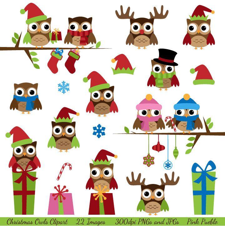 Christmas Owls Clipart Clip Art Winter Owls Clip Art Clipart With Santa Reindeer Commercial And Personal 6 00 Via Owl Clip Art Christmas Owls Winter Owl