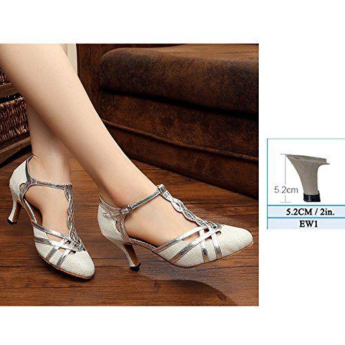 YFF Frauen tanzen Schuhe modernes Latein Tango Mid High Heels Größe 33-43, EW 1 Silber, 9.