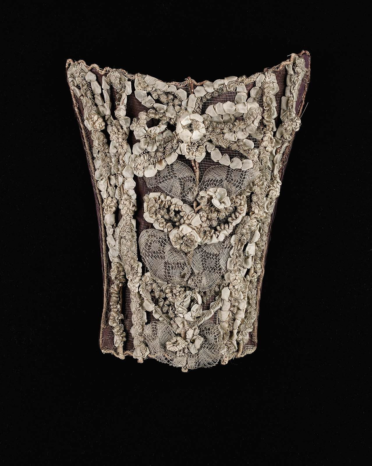 1760 1780, Europe  Stomacher  Silk, Metal Wire Wrapped Wire,
