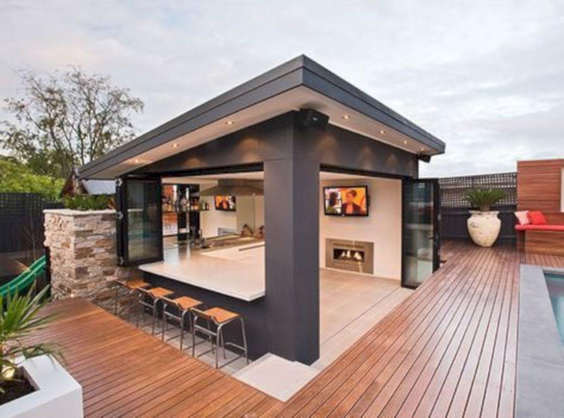 47 Modern Outdoor Kitchen Designs Ideas Roundecor Outdoor Kitchen Design Modern Outdoor Kitchen Outdoor Rooms Modern backyard bar ideas