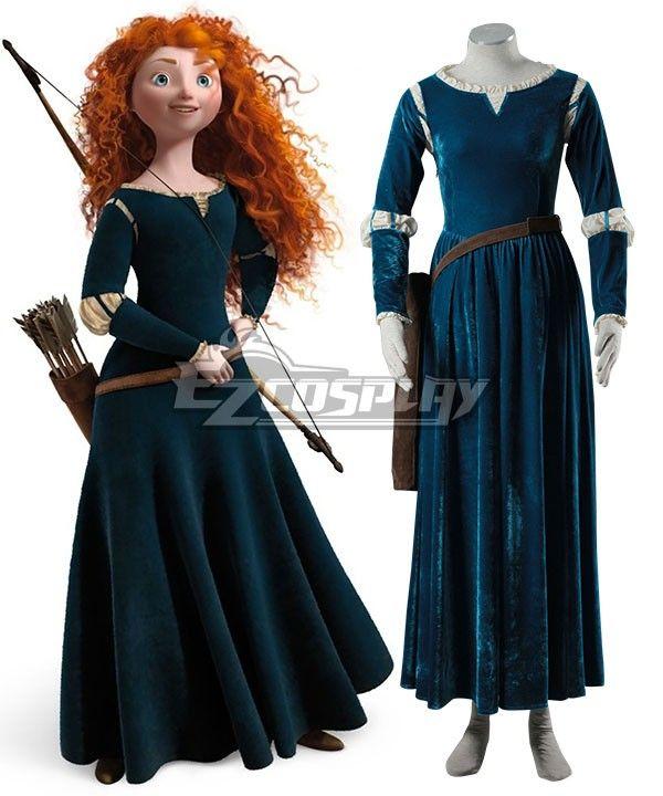 Princess Brave Merida Costume Adult Renaissance Medieval Halloween Fancy Dress