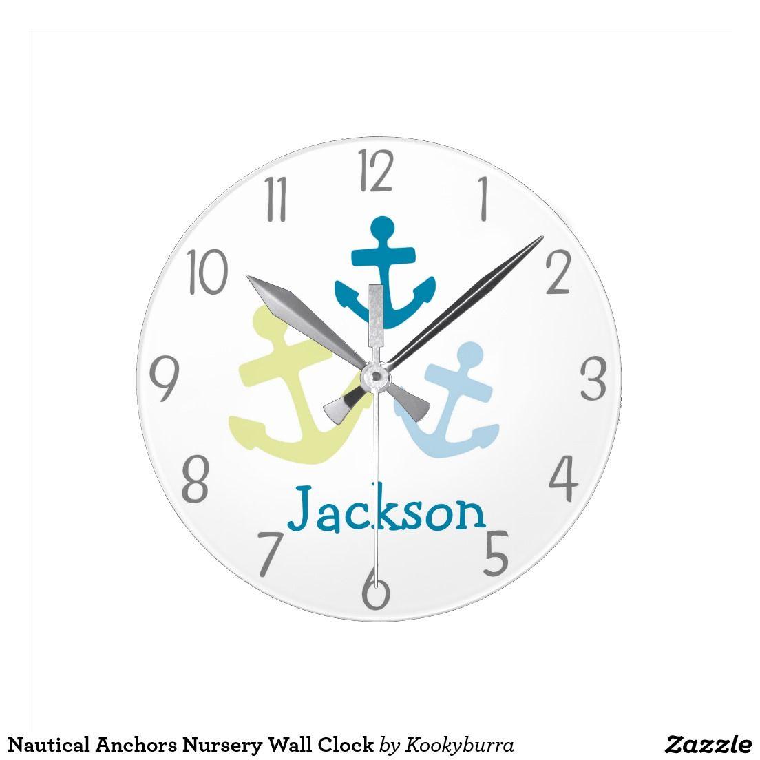 Nautical anchors nursery wall clock nursery nautical anchors nursery wall clock amipublicfo Images
