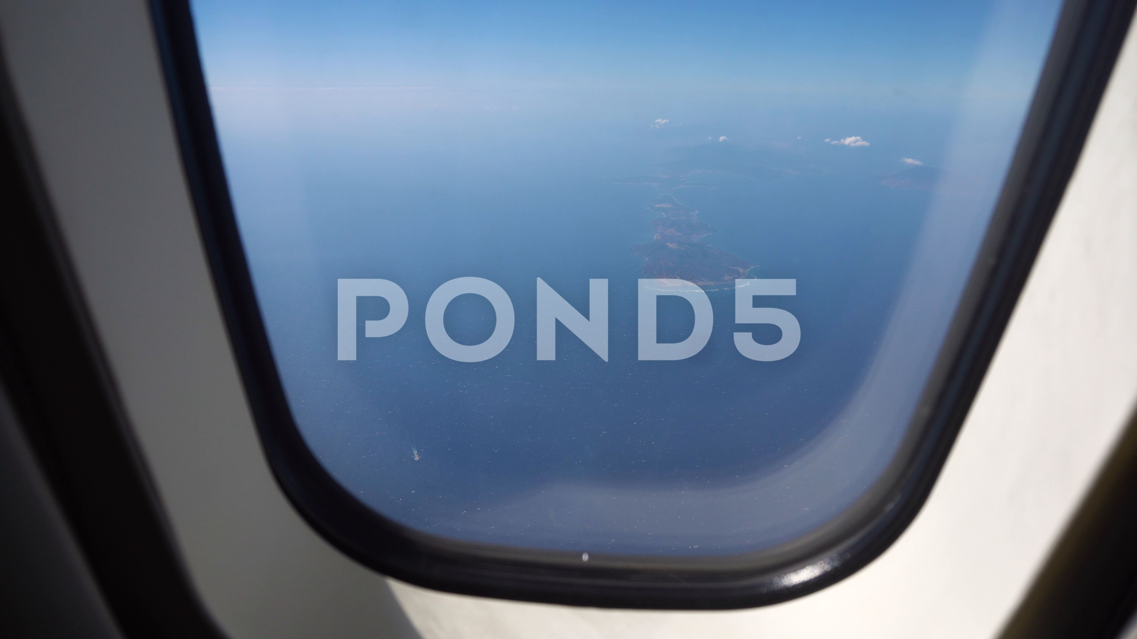 View from an airplane window on the ocean. Stock Footage