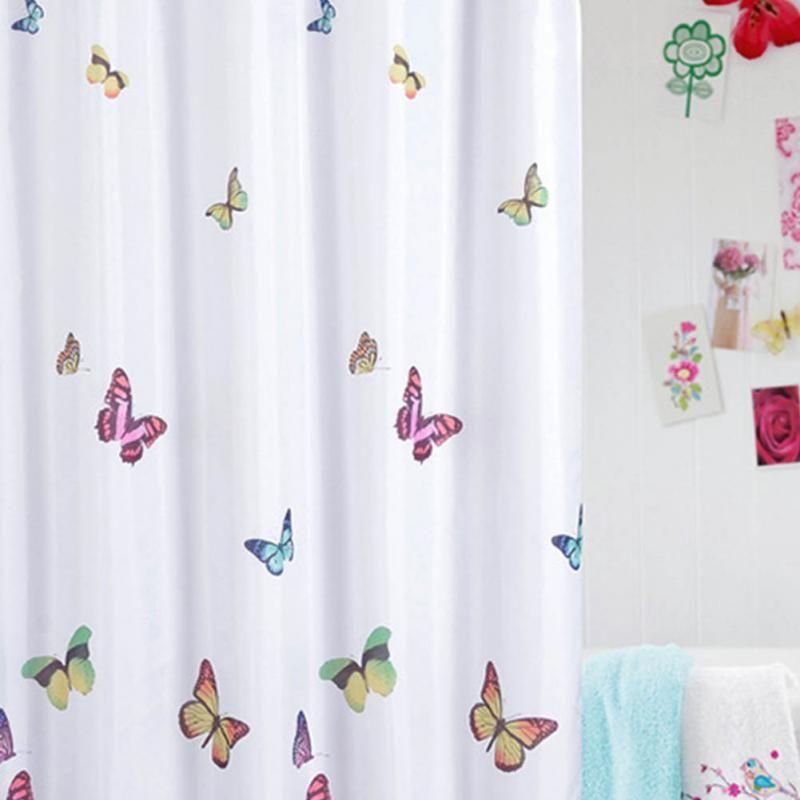 SenHome 180cm180cm Butterflies Print Bath Curtain Waterproof Mildew Proof Fabric Shower