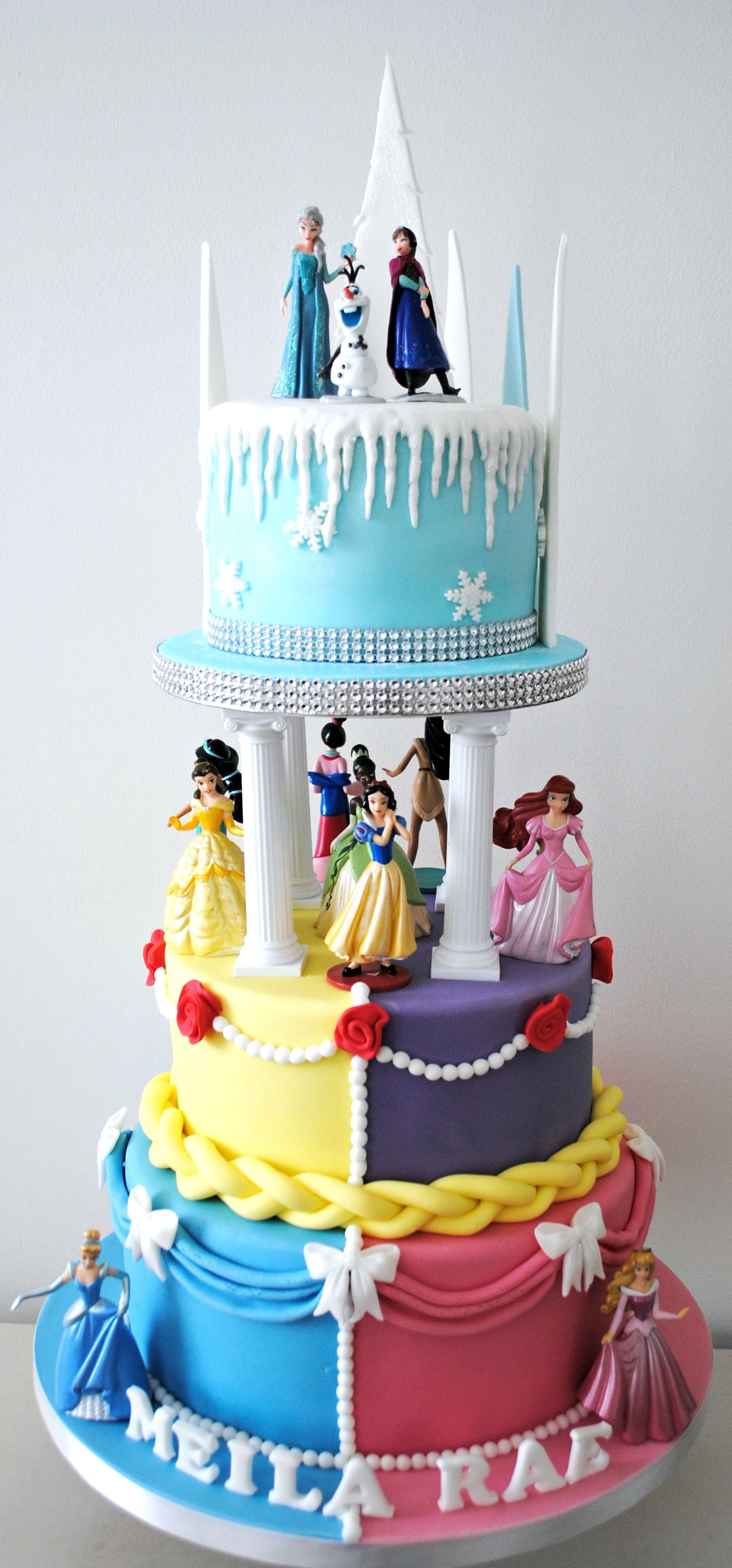 Disney Princess 3 Tiered Birthday Cake Cake and Cupcake