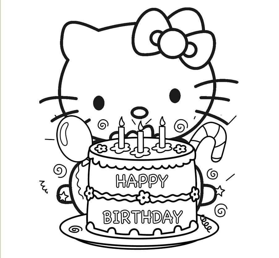 Hello Kitty Preparing To Blow Out Birthday Cake Candles Coloring Pages For Kids Printable
