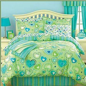 exciting teen girl bedroom green | Teen Girls Bright Lime Green and Aqua Bedding Set - Hearts ...