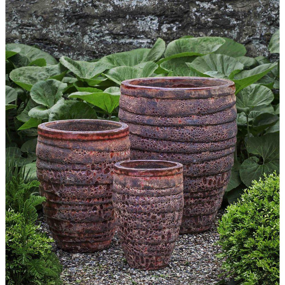 Guaracha tall large ceramic planters angkor red large
