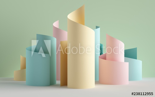 3d render, paper ribbon rolls, abstract shapes, pastel fashion background, swirl, scroll, curl, spiral, cylinder - Buy this stock illustration and explore similar illustrations at Adobe Stock#abstract #adobe #background #buy #curl #cylinder #explore #fashion #illustration #illustrations #paper #pastel #render #ribbon #rolls #scroll #shapes #similar #spiral #stock #swirl