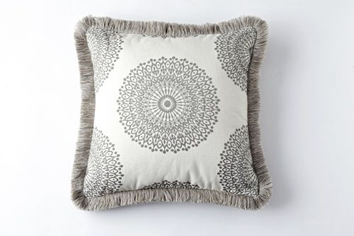 Pillow In The Robert Allen Fabric Sol Sterling With Decorative Trim
