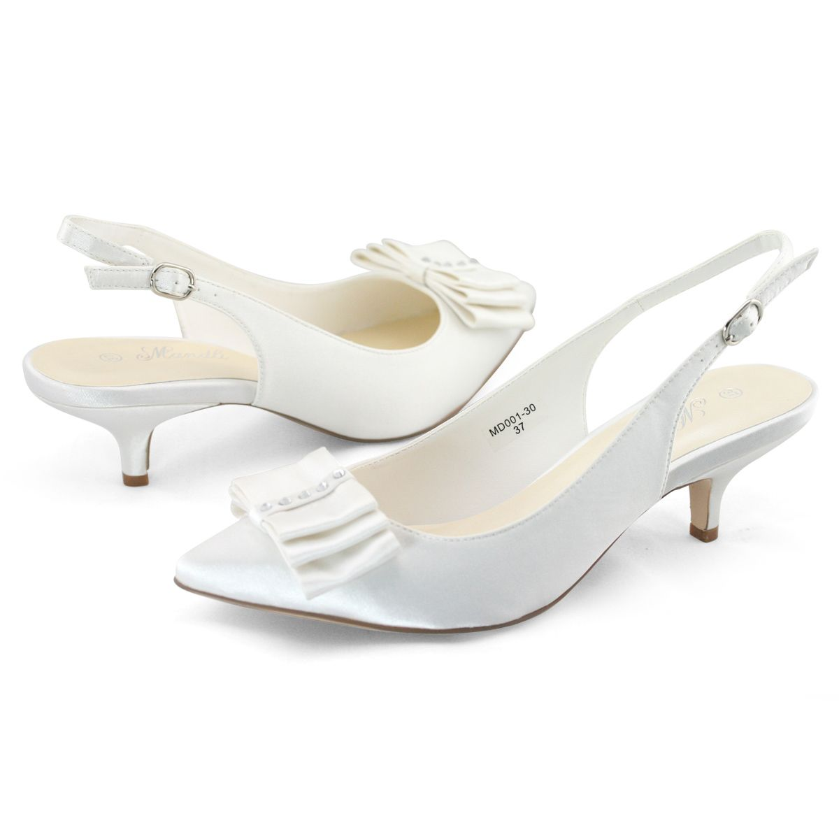 Shoezy Ladies Satin Bow Wedding Party Dress Slingback Low Kitten Heels Shoes Uk Kitten Heel Shoes Kitten Heels Heels