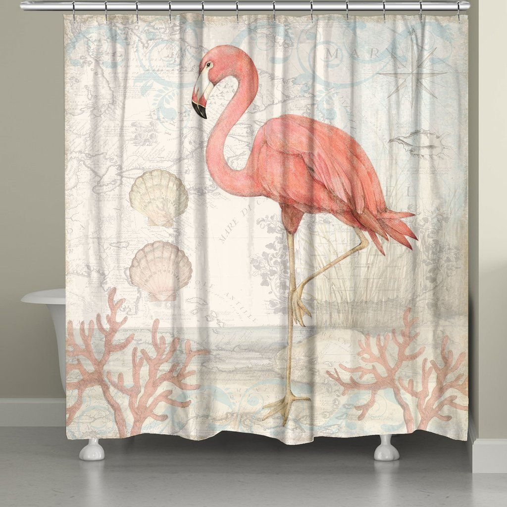 Coral and mint shower curtain - Coastal Flamingo Shower Curtain