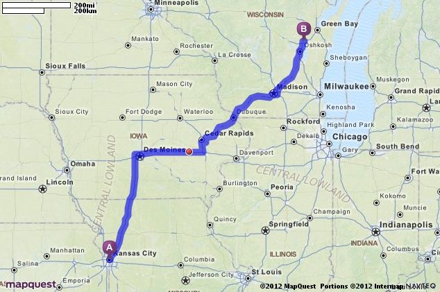 Driving Directions from Kansas City, Missouri to Appleton