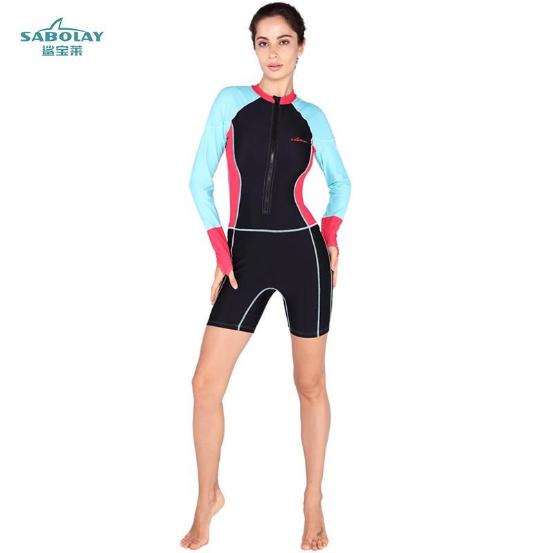 a95c077504 SABOLAY Anti-UV Lycra long Sleeve Triathlon Wet suit Women Surfing Wet Suit  for Swimming Diving Skin Equipment Swimsuit. Yesterday s price  US  33.89  (29.59 ...