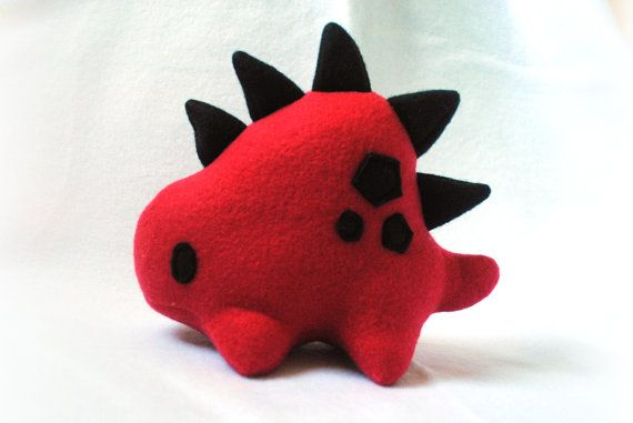 Red and Black Stego Plush by pookatdinocrafts on Etsy, $18.00
