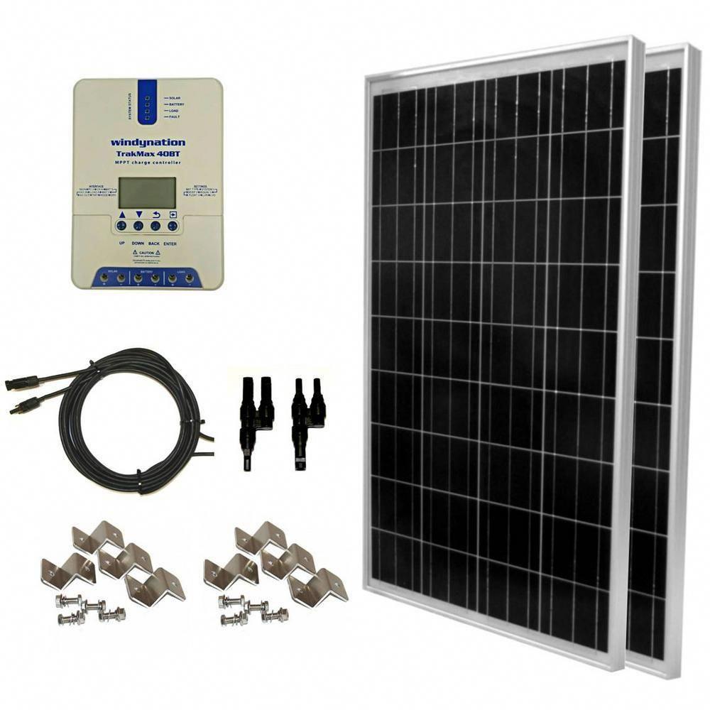 Windynation 200 Watt Off Grid Polycrystalline Solar Panel Kit With Trakmax Mppt 40 Amp Solar Charge Controller Solarpa In 2020 Solar Panel Kits Solar Panels Solar Kit