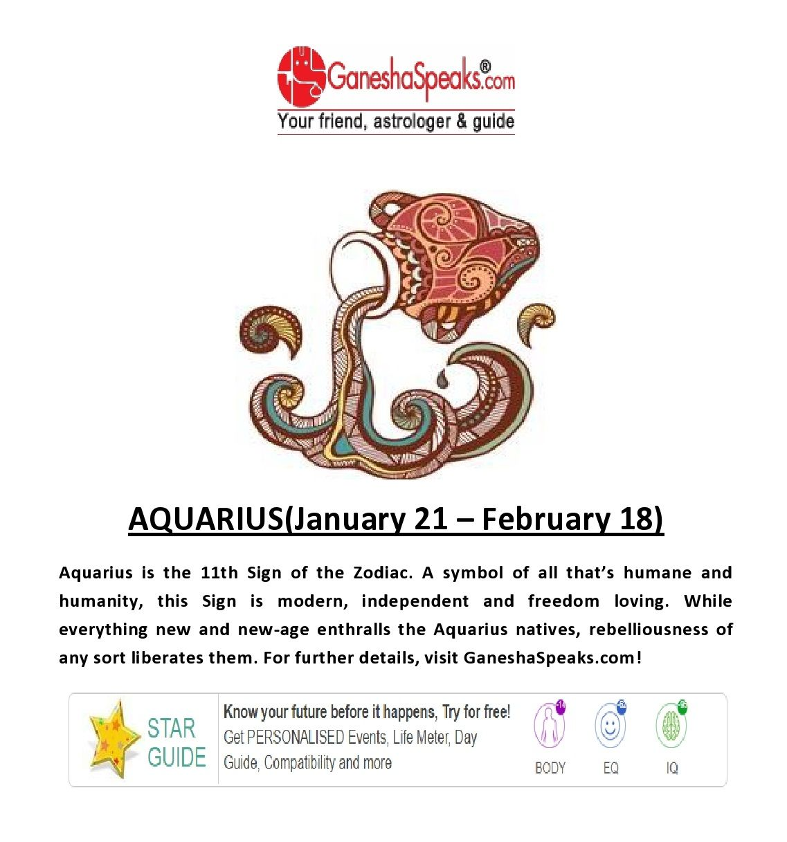 today horoscope aquarius ganesha