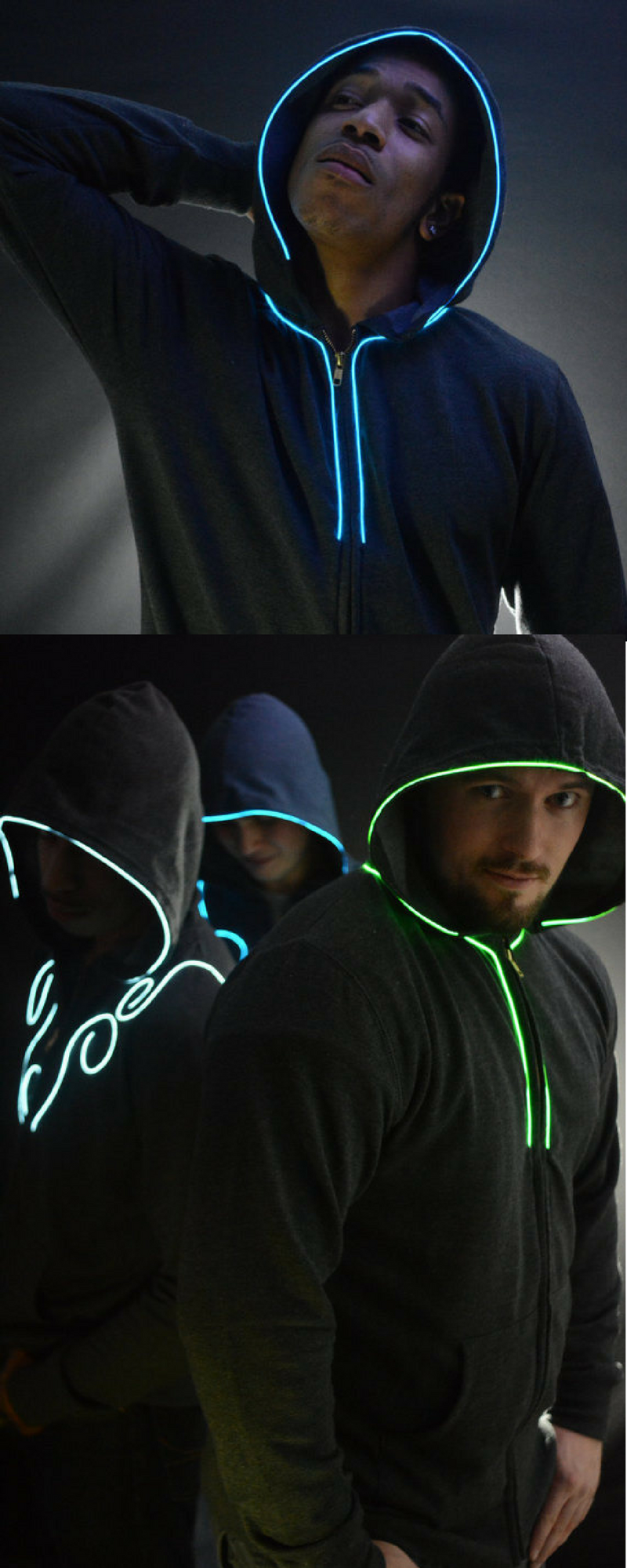 Light up hoodie Led Hoodie with EL wire By NEO LUX -Spector- (led ...