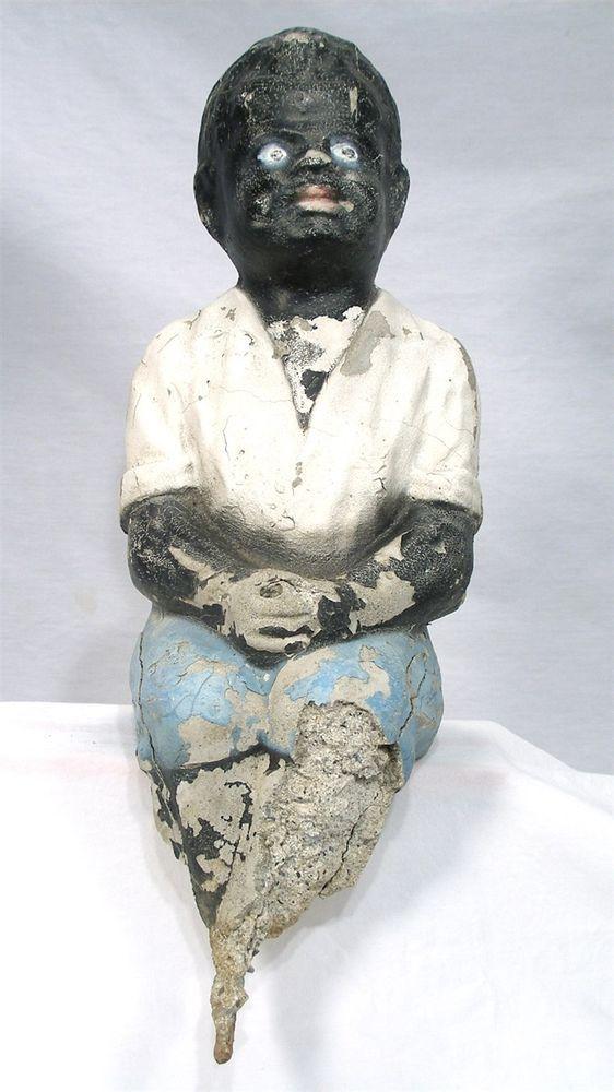 Old Garden Statue: ANTIQUE BLACK MEMORABILIA FISHING BOY GARDEN POST ART