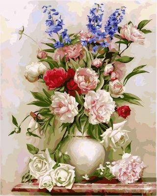 """вАлмазе RU - арт.18695 Раскраска по номерам """"Букет в вазе ..."""