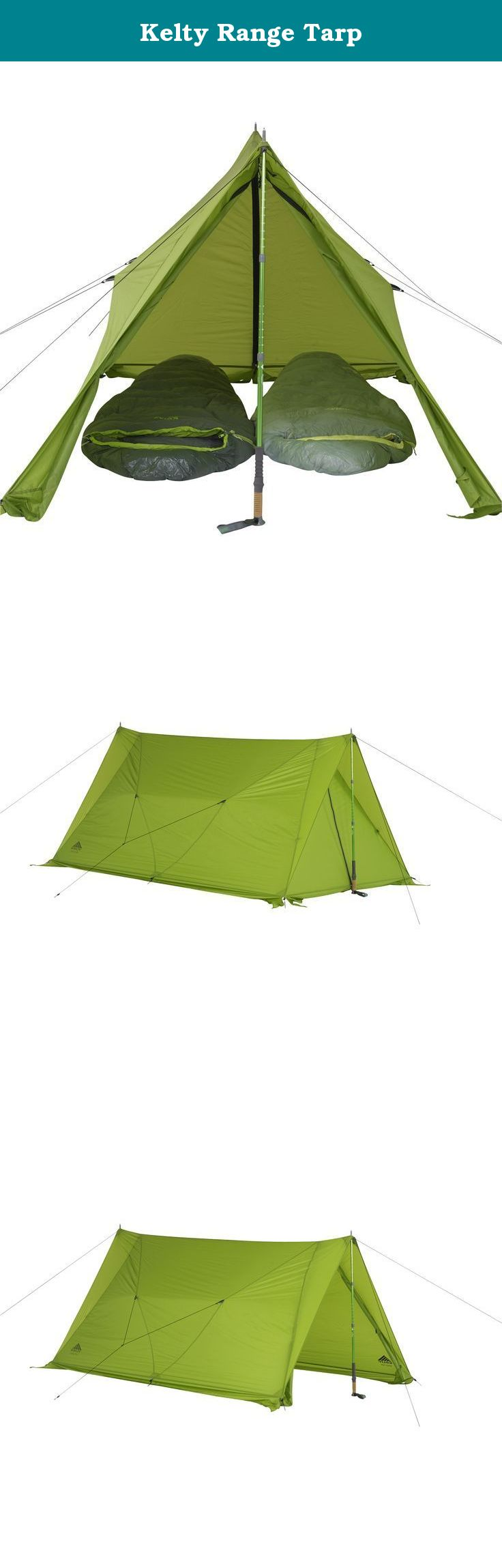 Kelty Range Tarp. Weather the elements every season of year with the extreme versatility of this lightweight trekking pole pitch tarp tent. Featuring two doors and ground flaps to fend against bugs as easily as snow, it makes finding shelter effortless wherever you roam. The adjustable stake loops will keep the tent nice and taut and are easily adjusted. Guyline storage pockets keep your guy lines neat and untangled when not in use, saving you time for when you need them.