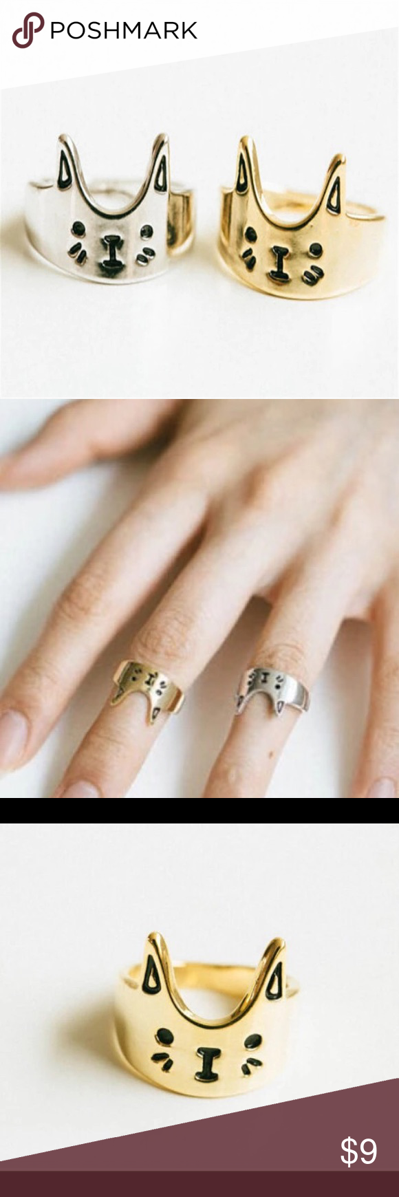 • SALE • Super Cute Gold Toned Cat Kitty Ring • ITEM DETAILS: • High quality • Made of zinc alloy • Nickel and lead free  DISCOUNT: • On bundles • 30% off for return customers  SHIPPING: • The next day  NOTE: • Color may be slightly different from the actual item due to the lighting • Reasonable offers welcome Jewelry Rings
