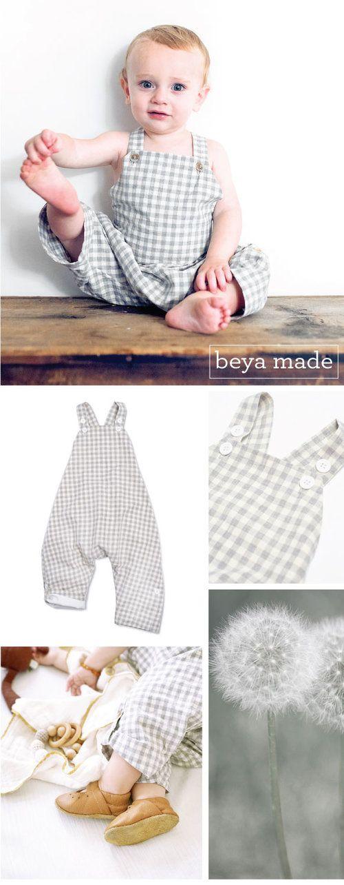 BeyaMade Grey Check Unisex Romper | Kinfolk Style | Rustic Kids ...