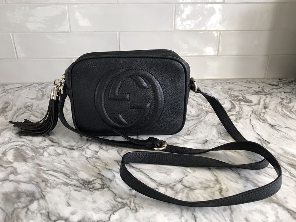 059868ef0 AUTHENTIC GUCCI SOHO DISCO BLACK LEATHER CROSSBODY BAG | Designer ...