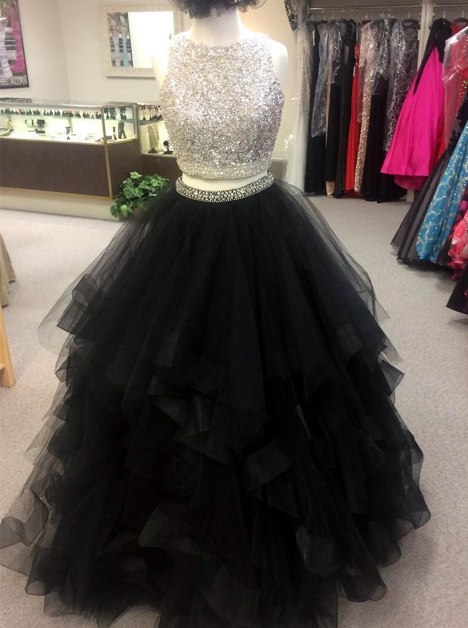 Black prom dressball gowns prom dresssequin beaded prom gownstwo