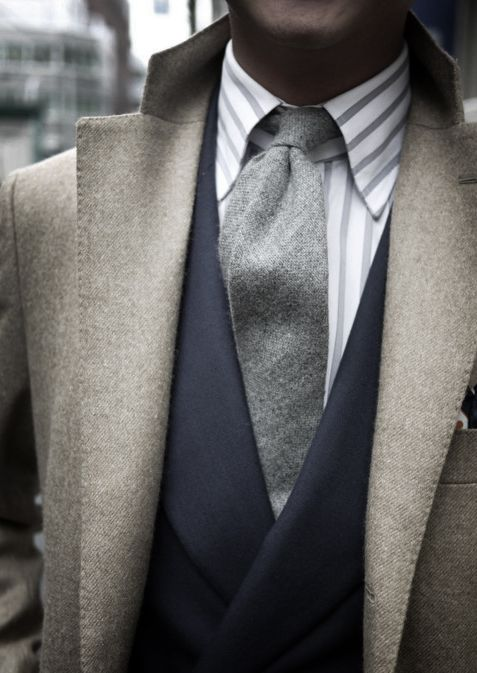 knitted tie and wool coat
