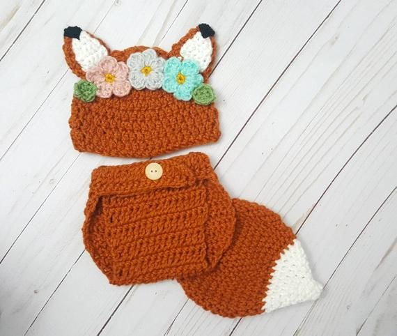 Woodland Fox Baby Girl Costume, Peach Mint Fox Outfit, Flower Crown Crochet Fox Outfit, For Fox Sake #crownscrocheted