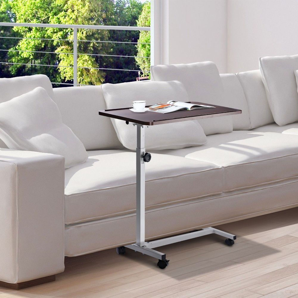 Multipurpose Overbed Table White Brown Steel Frame Wooden