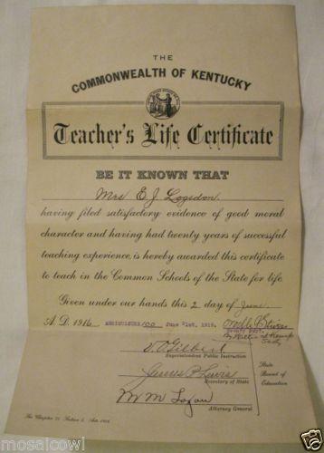 1916 teacher's life certificate for rosa logsdon of louisville, ky